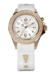 Kyboe Radiant White Silicone Pave Crystal And Rose Goldtone Stainless Steel Strap Watch 40Mm White Gold