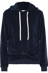 Clu Knotted Cotton Blend Terry Hooded Sweatshirt Navy