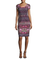 David Meister Short Sleeve Printed Crepe Cocktail Dress Pink Multi