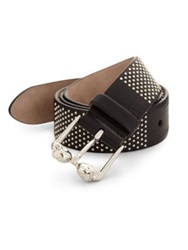 Alexander Mcqueen Studded Leather Belt Black Silver