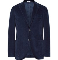 Boglioli Blue K Jacket Slim Fit Stretch Cotton Corduroy Blazer Storm Blue