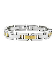 Lord And Taylor Mens Stainless Steel 14 Kt. Yellow Gold Bracelet With Diamond Accents Two Tone