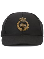 Dolce And Gabbana Embroidered Crown Bee Baseball Cap Black