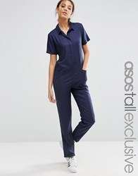 Asos Tall Woven Jumpsuit In Casual Look Navy