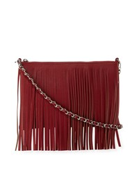 Posse Dara Fringe Leather Crossbody Bag Crimson Berry