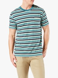 Dockers Pocket Stripe T Shirt Mallard Blue