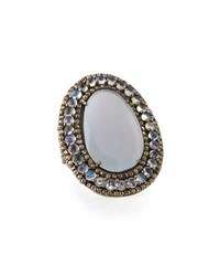 Bavna Chalcedony Moonstone And Champagne Diamond Oval Ring