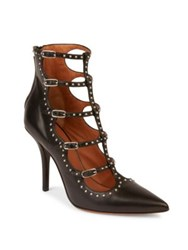 Givenchy Elegant Studded Leather Point Toe Pumps Black