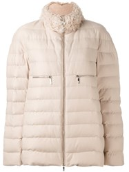 Moncler Gamme Rouge Zipped Puffer Jacket Nude And Neutrals