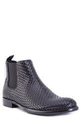Robert Graham Woodward Woven Chelsea Boot Black Leather