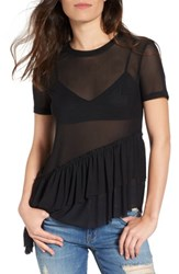 Women's Bp. Asymmetrical Ruffle Mesh Tee Black