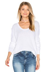 Autumn Cashmere Snake Stitch Scoop Sweater White