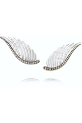 Noor Fares Wing 18 Karat Gray Gold Mother Of Pearl And Diamond Earrings