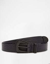 Asos Leather Belt With Western Buckle Black