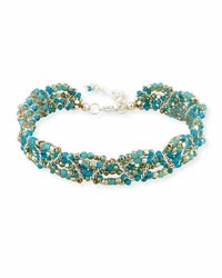 Nakamol Amazonite Beaded Multi Row Choker Necklace Blue