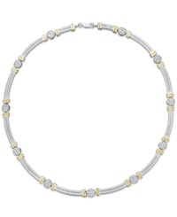 Macy's 14K Gold And Sterling Silver Necklace Diamond Accent Cable Necklace