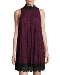 Max Studio High Neck Pleated Lace Dress Red Black
