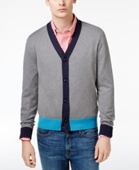 Tommy Hilfiger Men's Colorblocked Cotton Cardigan Grey Heather