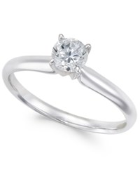 Macy's Diamond Solitaire Engagement Ring 1 2 Ct. T.W. In 18K White Gold