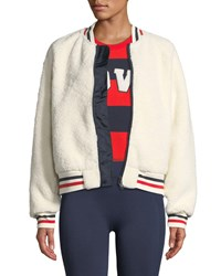 Tory Sport Zip Front Sherpa Bomber Jacket White