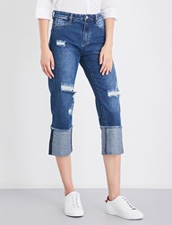Moandco. Distressed Cropped High Rise Jeans Blue Denim