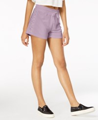 Material Girl Juniors' Lace Up Drawstring Waist Shorts Created For Macy's Lilac Field