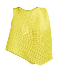 Pleats Please Issey Miyake Asymmetric Pleated Top Yellow