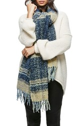 Free People Women's Loveland Plaid Fringe Scarf Navy
