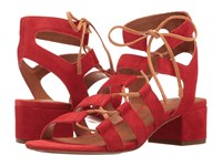 Frye Chrissy Side Ghillie Red Soft Oiled Suede Women's Dress Sandals