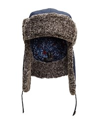 Ted Baker Quilted Faux Fur Trim Trapper Hat Navy
