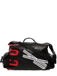Dsquared Icon Printed Waxed Denim Duffle Bag Black