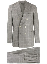 Brunello Cucinelli Houndstooth Check Two Piece Suit Grey