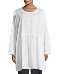 Eskandar Round Neck Long Sleeve Cotton Tunic White