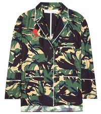 Off White Camouflage Printed Silk Blouse Multicoloured