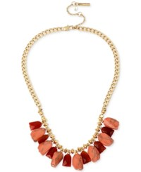 Kenneth Cole Coral Canyon Gold Tone Red Bead And Coral Stone Necklace