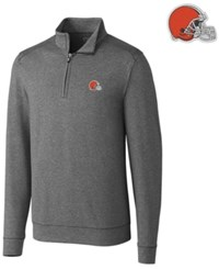 Cutter And Buck Cleveland Browns Shoreline Quarter Zip Pullover Charcoal