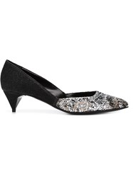 Pierre Hardy Glitter Front Kitten Heel Pumps Black