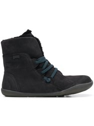 Camper Fuzzy Ankle Boots Black