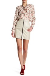 French Connection Faux Leather Zip Skirt Beige