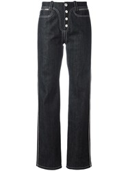 Paco Rabanne Buttoned Straight Jeans Black