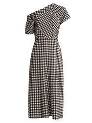 Rachel Comey Gingham One Shoulder Dress Black White