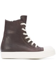 Rick Owens Lace Up Hi Tops Men Sheep Skin Shearling Rubber 44 Brown