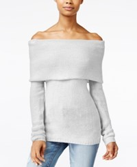 One Hart Juniors' Off The Shoulder Sweater Light Heather Grey