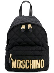 Moschino Medium Quilted Backpack Black