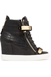 Giuseppe Zanotti Croc Effect Leather Wedge Sneakers Black