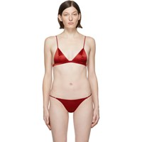 Fleur Du Mal Ssense Exclusive Red Silk Luxe Triangle Bra