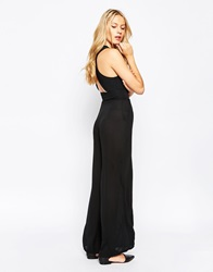 Love Jumpsuit With Cross Back Black