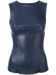 Drome Fitted Top Women Nappa Leather Xs Blue