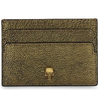 Alexander Mcqueen Metallic Skull Leather Card Holder Gold