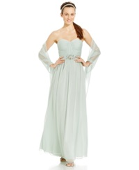 Adrianna Papell Strapless Sweetheart Gown And Shawl Mint